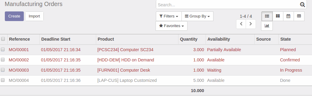 Odoo - Sample 1 for three columns