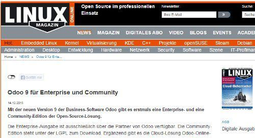 Odoo 9 in Linux Magazine